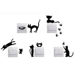 Canada vente chaude 1 ensemble de 5 chats noirs bande dessinée maison commutateur autocollants personnalisés stickers muraux décorés socket bricolage3D bonne qualité Offre
