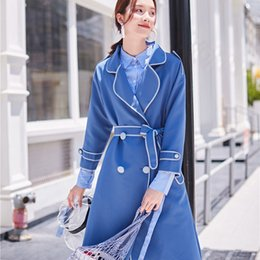 ba0a2309039 2018 Autumn Winter Fashion Streetwear Vintage Style Colors Contrast Edging  Sashes Long Trench Coat Women Outwear Y-734