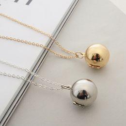Collar de bolas de oro y plata online-Mensaje secreto Collar de medallón de bolas Collar colgante de plata dorada Mensaje personalizado personalizado Nota de regalo Regalo para amante Mejor amigo