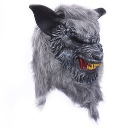 Canada Halloween Loup Masque Tête Animale Effrayant Loup-garou Effrayant Masque Cosplay Masque pour Party Monster Latex Masque Props Maskers cheap animal wolf mask Offre