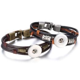 Deutschland Neue Leder Wrap Armband Noosa Chunk 18mm Druckknöpfe Armband Mann Frauen DIY Snap Schmuckknopf Snap Schmuck cheap leather chain wrapped jewelry Versorgung