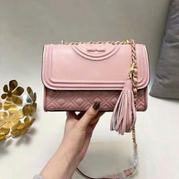 tassel leather handbag Australia - Fashion American Style Pink Chains Bag Genuine Leather Cow Leather Shoulder Bag Tassel Women Handbags hy2