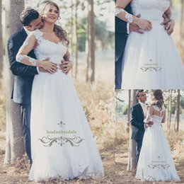 Wholesale Tailor Made Lace Wedding Dress - Custom Tailor made A-line wedding dress Lace long illusion sleeves bridal gowns misty tulle features layers dazzling crystal