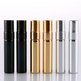 Argentina Venta al por mayor 50 Unids / lote 5 ML UV Parfum Botella de Spray de Viaje Para Perfume Portátil Envases Cosméticos Vacíos Con Aluminio Spray Suministro