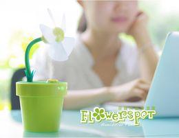 vasi da fiori per ufficio Sconti Piccolo umidificatore USB Home Mini Fiori Pentola Ventilatore a spruzzo silenzioso Ventilatore d'aria 4Colors Ventilatore da ufficio Spray soffice e confortevole
