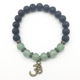 SN1311 À La Mode Hommes Vert Aventurine Bracelet Naturel Pierre De Lave Bracelet Équilibre Ohm Charme Bracelet Bijoux En Gros ? partir de fabricateur