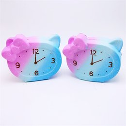 Wholesale Toy Clocks - PU Alarm Clock Squishy Decompression Toys Cute Squishies Slow Rebound Squeeze Toy Kid Gift Hot Sale 16 5bq C
