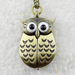Wholesale Pocket Watch Vintage Owl - Vintage Bronze Retro Slide Smart Quartz Pocket Watch Owl Pendant Long Necklace Fob Watch