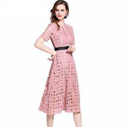 e304086719 Distribuidores de descuento Elegante Vestido De Encaje Rosa Mujeres ...