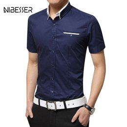 Wholesale best slimming dresses - NIBESSER Business Fit Slim Men Shirts Short Sleeve Turn-down Collar Shirts Summer Dress Brand Clothing Casual Best Man Shirt