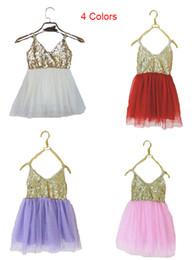 Ballet anniversaire en Ligne-Été enfants longues dentelle filles tutu robe gallus mignon sequin jupes sans manches ballet danse bébé paty anniversaire