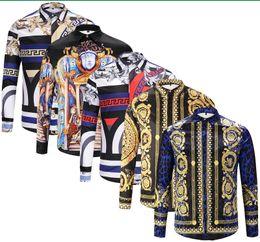 Wholesale italy fashion dresses - Brand Italy New fashion long sleeve men dress shirts cotton slim fit men's casual shirts Medusa Harajuku luxury shirt