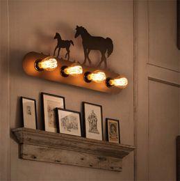 Wholesale Antique Industrial Light Fixtures - Modern Metal wall lamps creative Horse sconces Industrial retro light fixture for hallway living room Bedroom antique art Iron 4 E27 Base