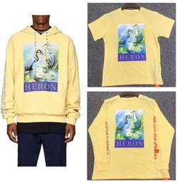 Jersey amarillo online-Las más nuevas de Heron Preston sudaderas grulla de corona roja Yellow Heron albaricoque Preston Hoodies CTNNB bordado de Heron Preston Pullover