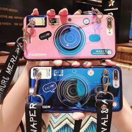 2019 telefon fall androiden Für blaue Retro-Kamera iPhone 7 Handyhülle Apple 6S Airbaghalterung X Diagonal-Lanyard Plus Android Vivo-Handy im Freien photogr