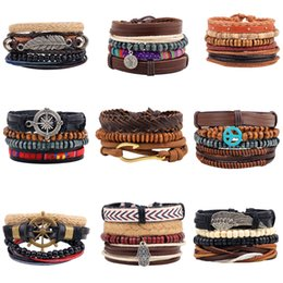 Wholesale Handmade Wooden Bracelets - 2018 Fashion DIY Handmade Leather Jewelry Unisex Wooden Beaded Braided Bead Radiation Bracelet Multiple Combination Suit Bracelet