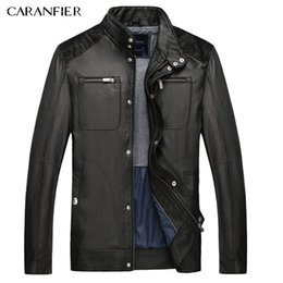 Wholesale New High Technology - CARANFIER 2017 New Men Fashion Leather High Quality Designer PU Casual Coat Male Outerwear Winter 3D cutting technology M~XXXL