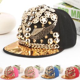 men spiked hat Promo Codes - Fashion Bigbang personality jazz hat snapback cap Men  Women Spike Studs Rivet Cap Hat Punk style Rock Hip hop cap Pick