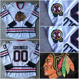 Wholesale Christmas Hockey Jersey - Men #00 Clark Griswold Throwback Chicago Blackhawks Hockey Jerseys White Vintage Movie National Lampoon's Christmas Vacation Jerseys