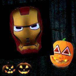 Wholesale Glowing Spiderman - LED Flash Mask Children Halloween Masks Glowing Lighting Mask Avengers Hulk Captain America Ironman Spiderman Party Mask Free DHL HH7-879