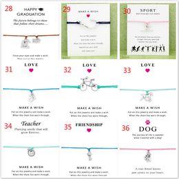 Wholesale White Greeting Cards - 20pcs Wish Bracelet With Gift Card Dog Paw Unicorn Teacher Charm Bracelets Bangles for Women men Friendship Statement Jewelry Greeting Cards