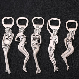 Wholesale tattoo girls sexy - Creative Craftwork Metal Anti-Silver Sexy Russian Girl Lady With Flower Tattoo 3D Beer Soda Drink Bottle Opener Decapper Free DHL G682R