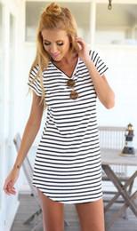 Wholesale tee mini dress - Casual Striped Dress V Neck Sexy Women Cotton Straight Long T Shirt Top Tee Boho vestido Summer Style Beach Wear Preppy Desses