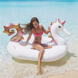Wholesale Wholesale Float Tubes - Hippocampi Design Huge Inflatable Tubes Unicorn Swimming Ring For Sea Sun Bath Pegasus Floating Mat Pool Decor High Quality 89xh Z