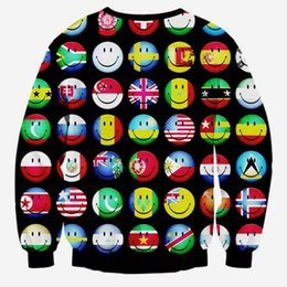 Wholesale Funny Countries - Hip Hop Hoodie Cartoon hoodies Men Women's 3d sweatshirts funny print country ball flag smile faces emoji sweatshirts pullovers