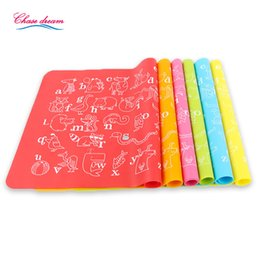 Wholesale Place Europe - Wholesale- 30*40cm Silicone Place Mats Heat Resistant Non Slip Table Mat Kids baby Home Kitchen Dining Placemat Fashion