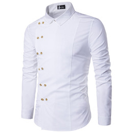 Двубортные рубашки онлайн-«Марка рубашка Мода Повседневная рубашка Двойной Брестед с длинным рукавом Европейский Стиль Мужчины S» Мужчины S платье рубашка Камиза Masculina M-2XL