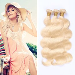 Wholesale Eurasian Virgin - Color 613# Bleach Blonde Eurasian Body Wave Virgin Hair Eurasian Human Hair Weave Bundles Soft Tangle Free Hair Wefts Dyeable