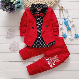 Wholesale 18 Month Jacket - Baby Boys Autumn Casual Clothing Set Baby Kids Button Letter Bow Clothing Sets Babe jacket + pant 2-Piece Suit Set