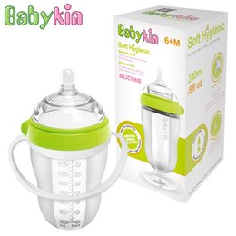 Wholesale Big Baby Bottles - Babykin 240ML(8fI oz) Big Mouth Full Silicone Baby Bottle with Handle Simulation of Nipple Design Breast Tactility Feeder