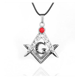 Wholesale Masonic Necklaces - Stainless Steel Men hip hop Round Masonic pendant necklaces 60cm long link chain vintage Free mason men necklace jewelry gifts