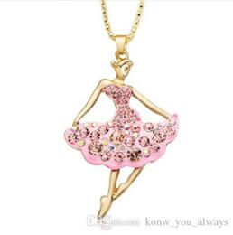 Wholesale girl ballet dancer - Novelty Ballet Ballerina Dancer Girl Long Necklaces & Pendants Souvenir Gift Women Crystal Jewelry