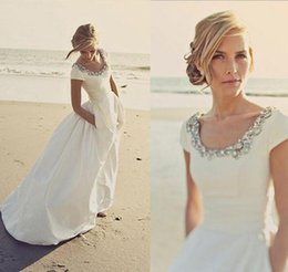 Wholesale Taffeta Wedding Dresses Pockets - 2017 Modern Wedding Dresses with Pockets and Short Sleeves Scoop Beading White Taffeta Cheap Spring Beach Wedding Bridal Gowns Custom Made