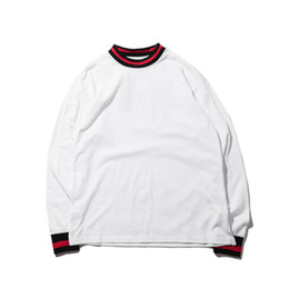 Wholesale Base Hip Hop - Long Sleeves T Shirts Cotton O-neck Casual Oversize Streetwear T Shirt Warm Solid Ribbed Mens Hip Hop Base T-shirts