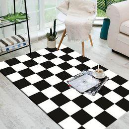 Tapis de tapis de cuisine noirs en Ligne-Grand européen géométrique noir et blanc tapis tapis pour chambre à coucher salon cuisine bains tapis porte tapis anti-dérapant accueil tapis couverture