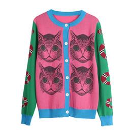 patrón de gato de punto Rebajas 2018 Spring Knitting Snake Cat Pattern Novedad Jumper Lady Top pull sueter mujer Suéter Runway Design Knit Cardigan Suéter