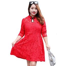 Wholesale Chinese Dresses Plus Size Women - LZJN Long Sleeve Midi Dress Women Black Lace Dresses Plus Size Clothing Red Floral Shirt Dress Chinese Style Cheongsam 0565