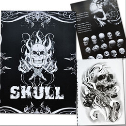Wholesale Tattoos Designs Sketches - 76 Pages A4 Tattoo Book Black Sexy Skull Design Sketch Flash Book Tattoo Flash Sketchbook