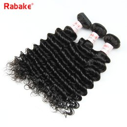 Wholesale remy bulk hair extensions - Brazilian Deep Wave Remy Human Hair Extensions Rabake Natural Black 3 or 4 Human Hair Weave Bundles Bulk Wholesale Deal for Black Women