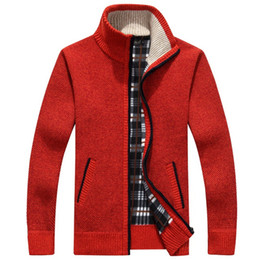 cotton knit cardigan plus size Promo Codes - Men Cardigan Sweaters Autumn Winter Warm Cashmere Wool Zipper Cardigan Casual cotton Knitwear Plus Size RED beige Handsome Mandarin Collar