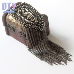 Apparel Sewing & Fabric 1pcs Handmade Fashion Tassel Shoulder Board Badges Beads Fabric Metal Epaulette Military Pin On Brooch Medal Selected Material