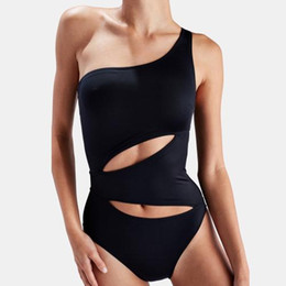 Corte black out um pedaço swimsuit on-line-Cut-Out One Piece Swimsuit Push-Up Bandeau Um Ombro Monokini Slim-Fit Sexy Corpos de Verão Preto Cinza Café Maiôs