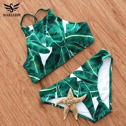 Wholesale High Neck Halter Tops - 2018 Sexy High Neck Bikini Swimwear Women Swimsuit Brazilian Bikini Set Green Print Halter Top Beach wear Bathing Suits