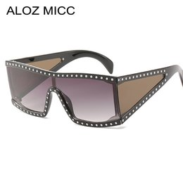 2019 flache schutzbrillen ALOZ MICC 2019 Neue Italien Frauen Übergroßen Quadratischen Sonnenbrillen Luxus Kristall Schild Goggle Sonnenbrille Frauen Flache Oberseite Eyewear A644 rabatt flache schutzbrillen