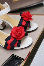 Wholesale Vacation Sandals - Fashion Women Ankle Strap Buckle Sexy Chunky Heel Sandals With Bowknot And Handcraft Rose Decorated Summer Beach Leisure Vacation Sandals