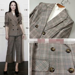 Wholesale Uniform Square - New Fashion Grid Hot Selling Ladies Suits For Women Business Suits Formal Wear Blazer and Pant Sets Elegant Office Uniforms